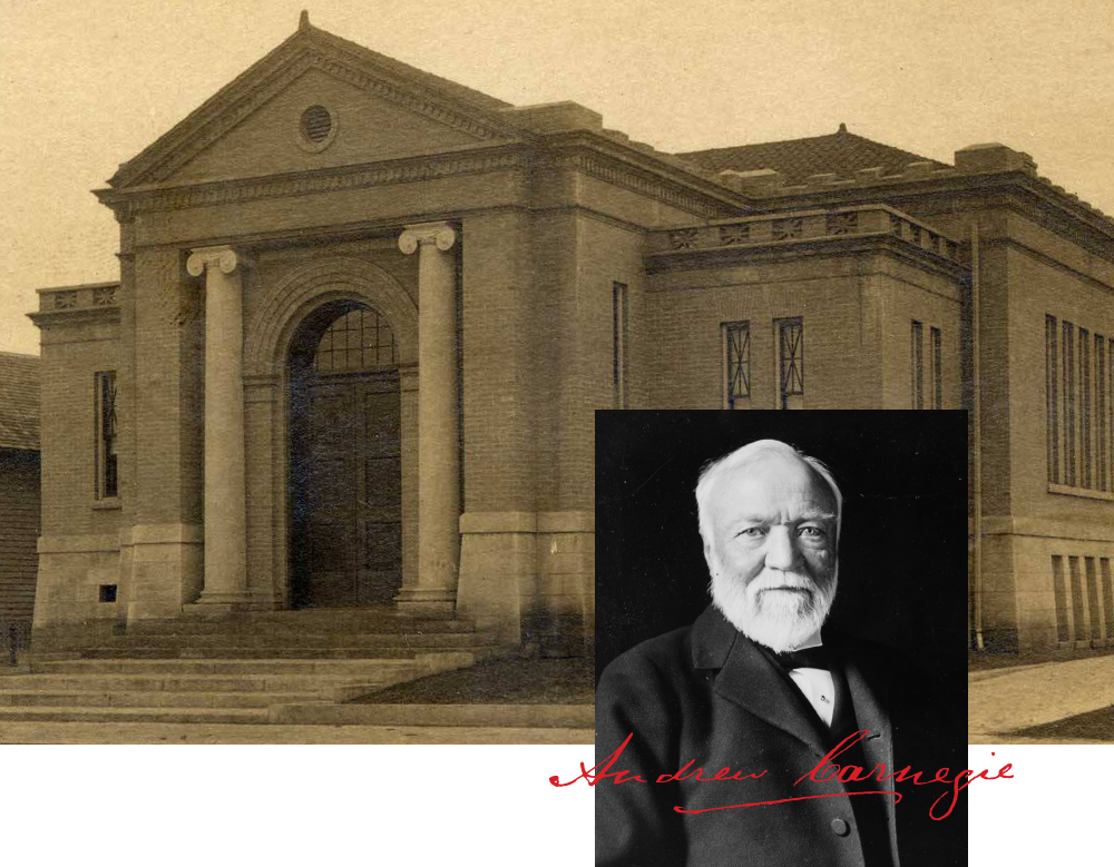 Decatur, Alabama Carnegie Library in 1904 with Andrew Carnegie