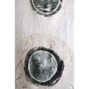 2020 | linen cloth, oil based ink print, sashiko thread, oak hardwood