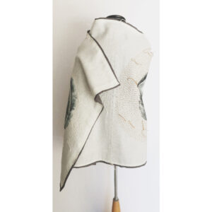 2020 | inen cloth, oil based ink print, sashiko thread, oak hardwood